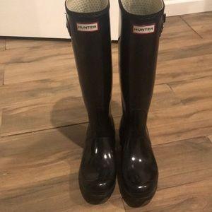 Hunter Tall Gloss Rain Boot (Size 9)